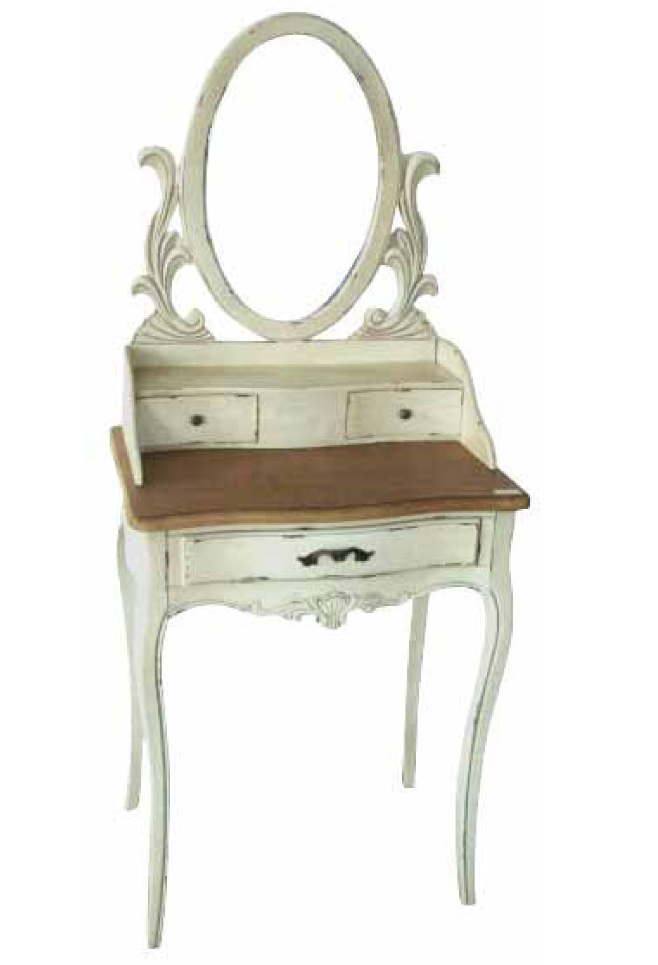Furniture Bedroom Oval Mirrored White Stained Dressing Table With Within Antique Small Mirrors (Image 8 of 15)