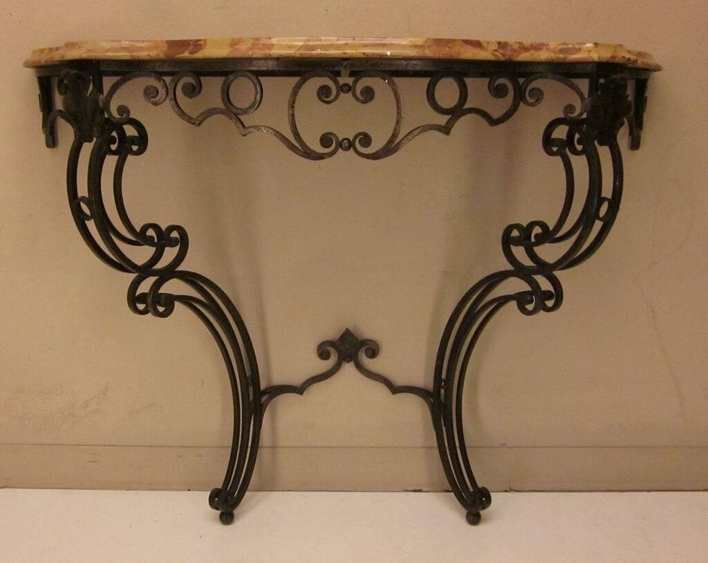 Furniture Custom Wrought Iron Console Table With Glass Top Inside Black Wrought Iron Mirror (Image 9 of 15)