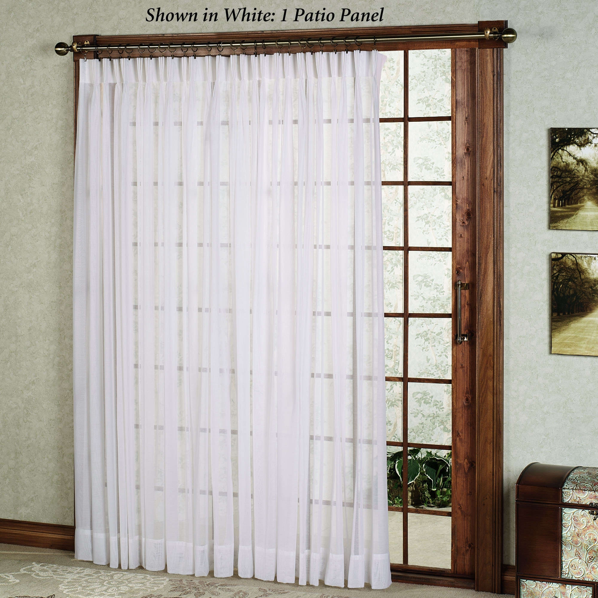 Furniture Elegant Brown Fabric Sliding Glass Door Curtain Design Throughout Fabric Doorway Curtains (Image 7 of 15)
