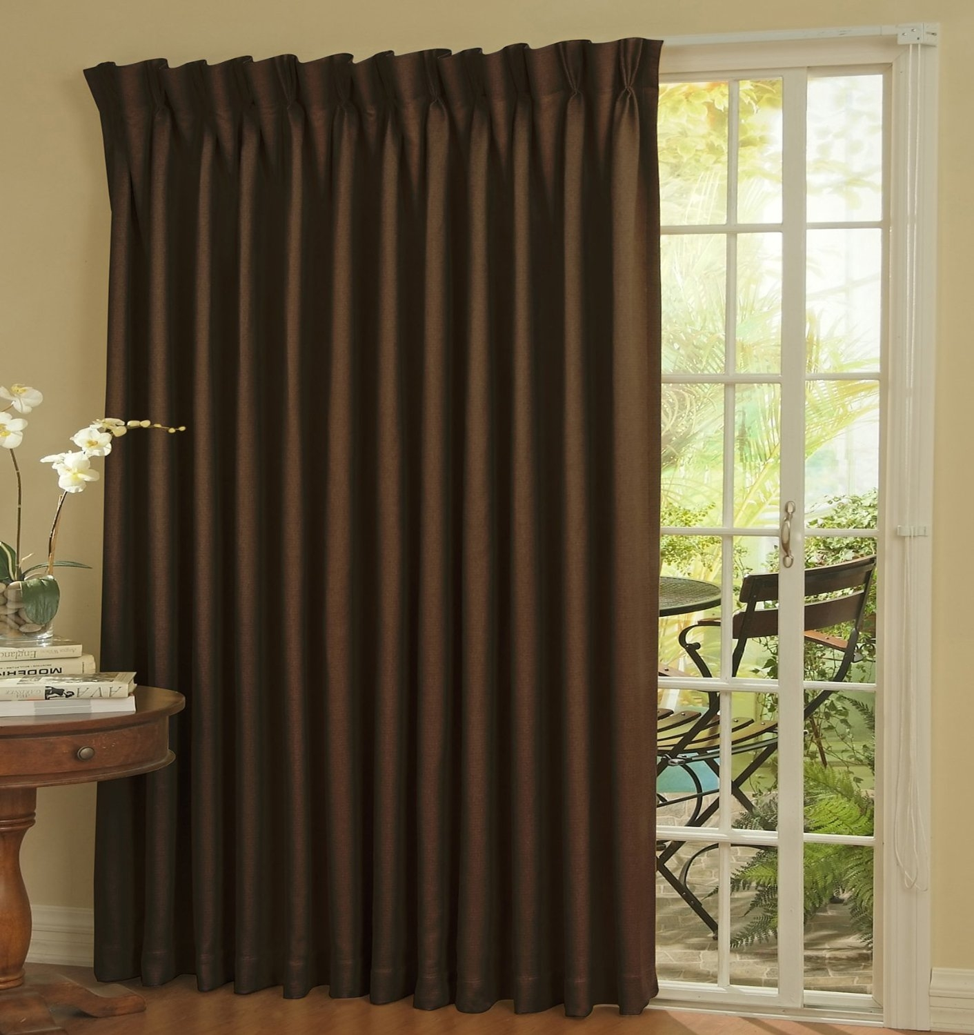 Furniture Extra Long Curtains With Brown Curtain And Brown Wooden With Extra Long Door Curtain (Image 9 of 15)