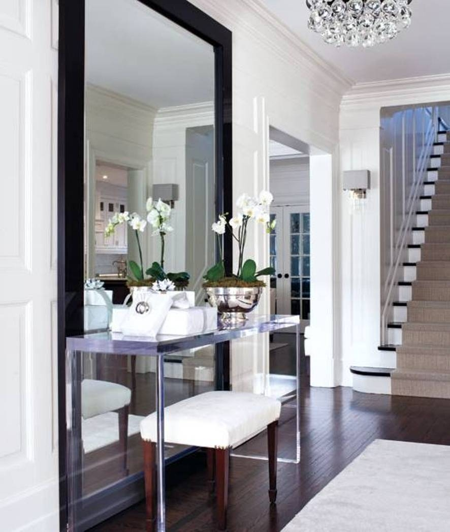 Furniture Glass Modern Console Tables Glass Modern Console Inside Modern Large Mirrors (Image 7 of 15)