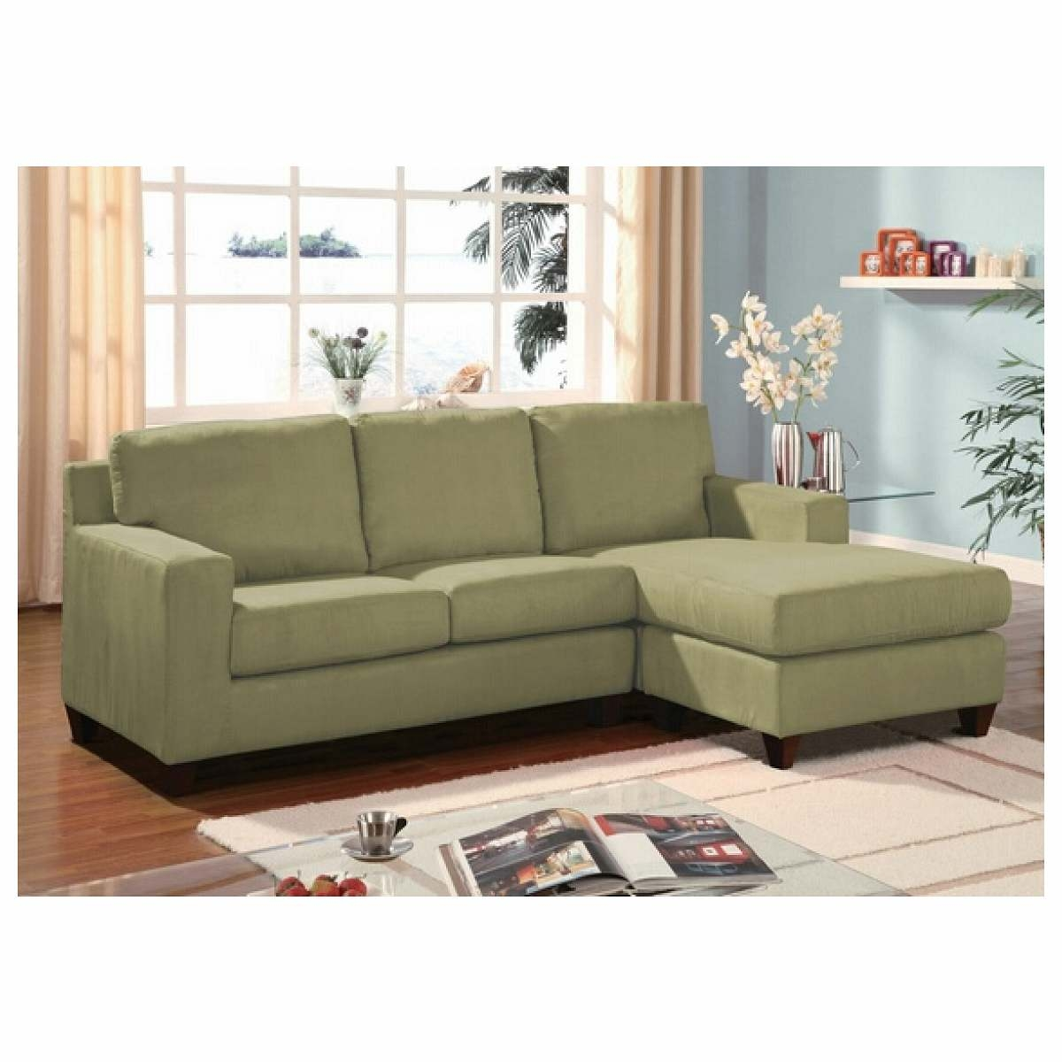 Furniture Green Microfiber Reversible Sectional Sofa With Chaise With Apartment Sectional Sofa With Chaise (Image 12 of 15)