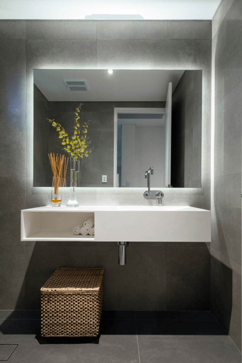 Furniture Illuminated Large Mirror Modern New 2017 Bathroom Regarding Modern Large Mirror (View 9 of 15)