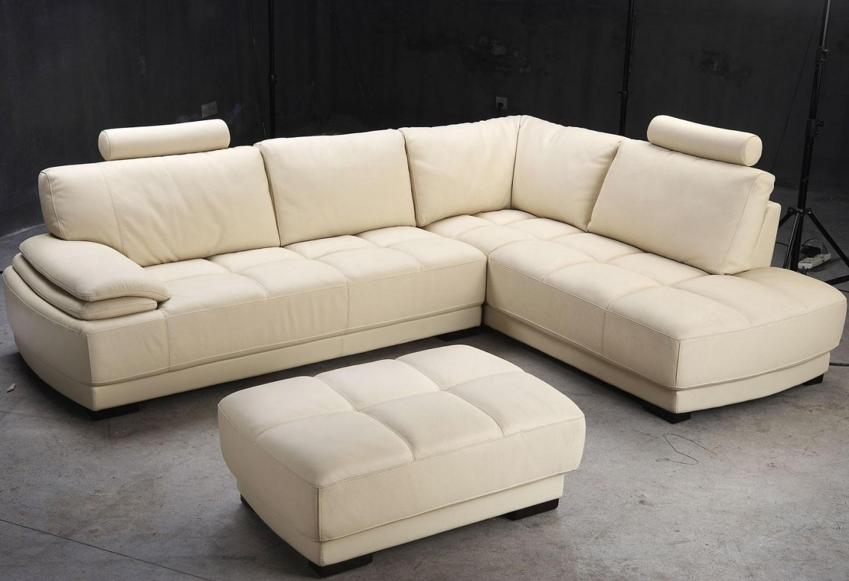 Furniture L Shaped Brown Leather Sectional Sofa With Double Regarding Backless Sectional Sofa (Image 13 of 15)