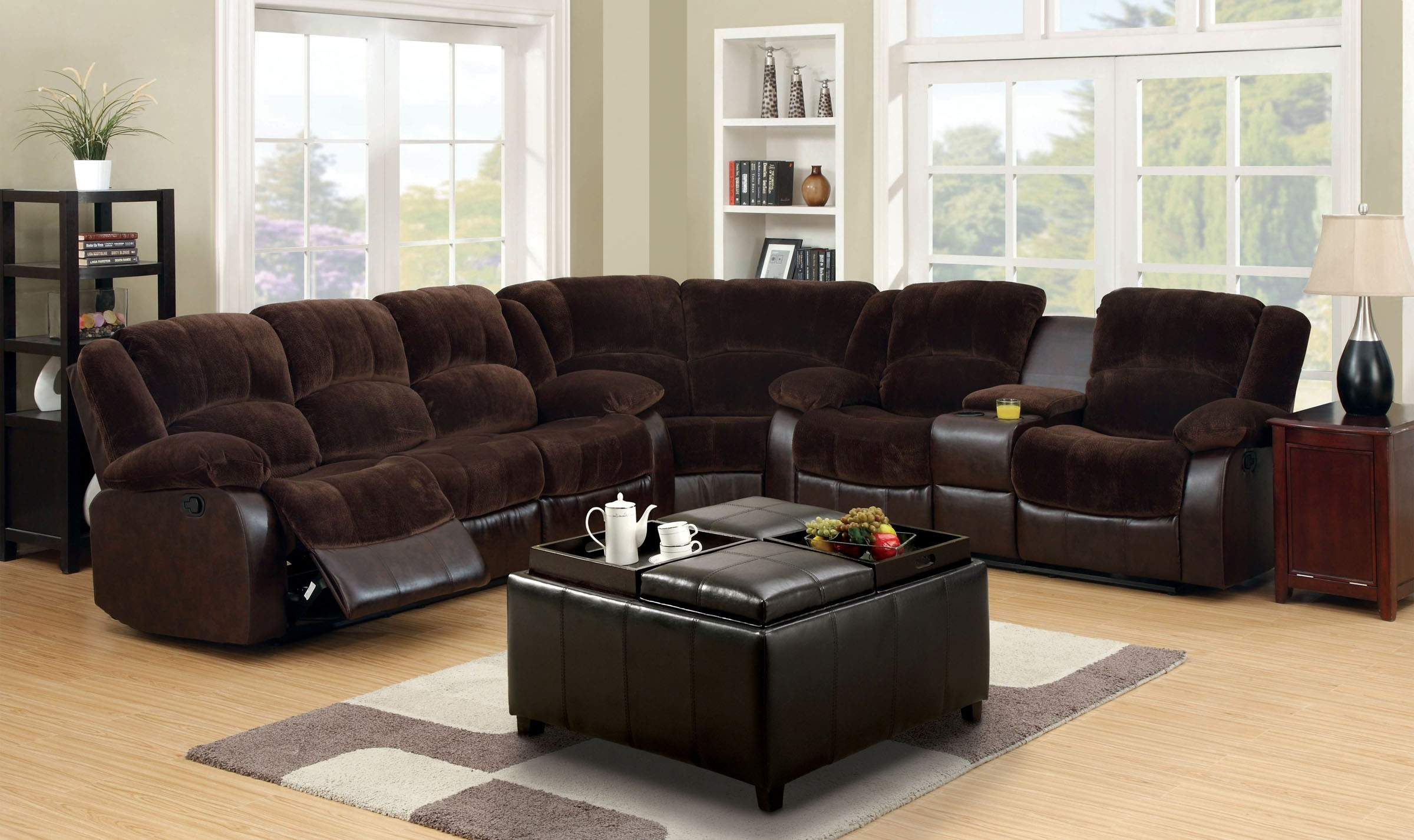 Furniture Of America Cm6556cp Winchester Transitional Brown Within Champion Sectional Sofa (Image 6 of 15)