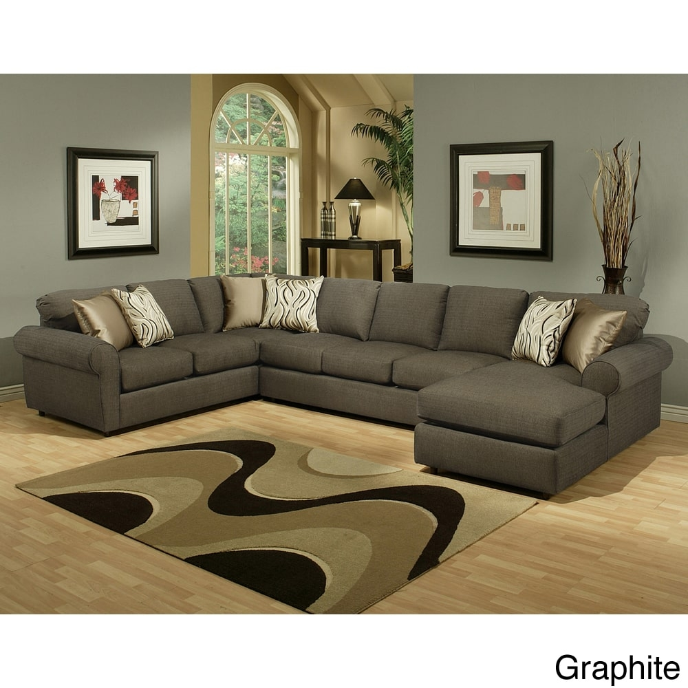 Furniture Of America Keaton Chenille Sectional Sofa Walmart Intended For Chenille Sectional Sofas (Image 8 of 15)