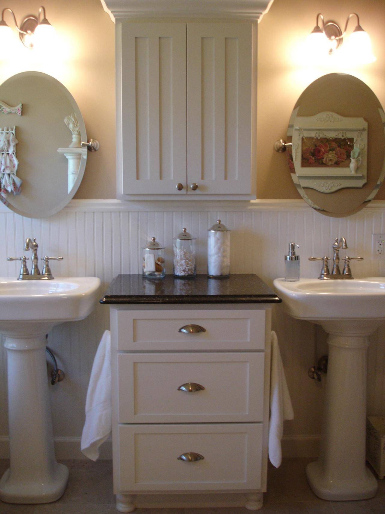 Furniture Vintage Ideas Of Shab Chic Bathroom Vanity Shows Within Shabby Chic Round Mirror (View 6 of 15)