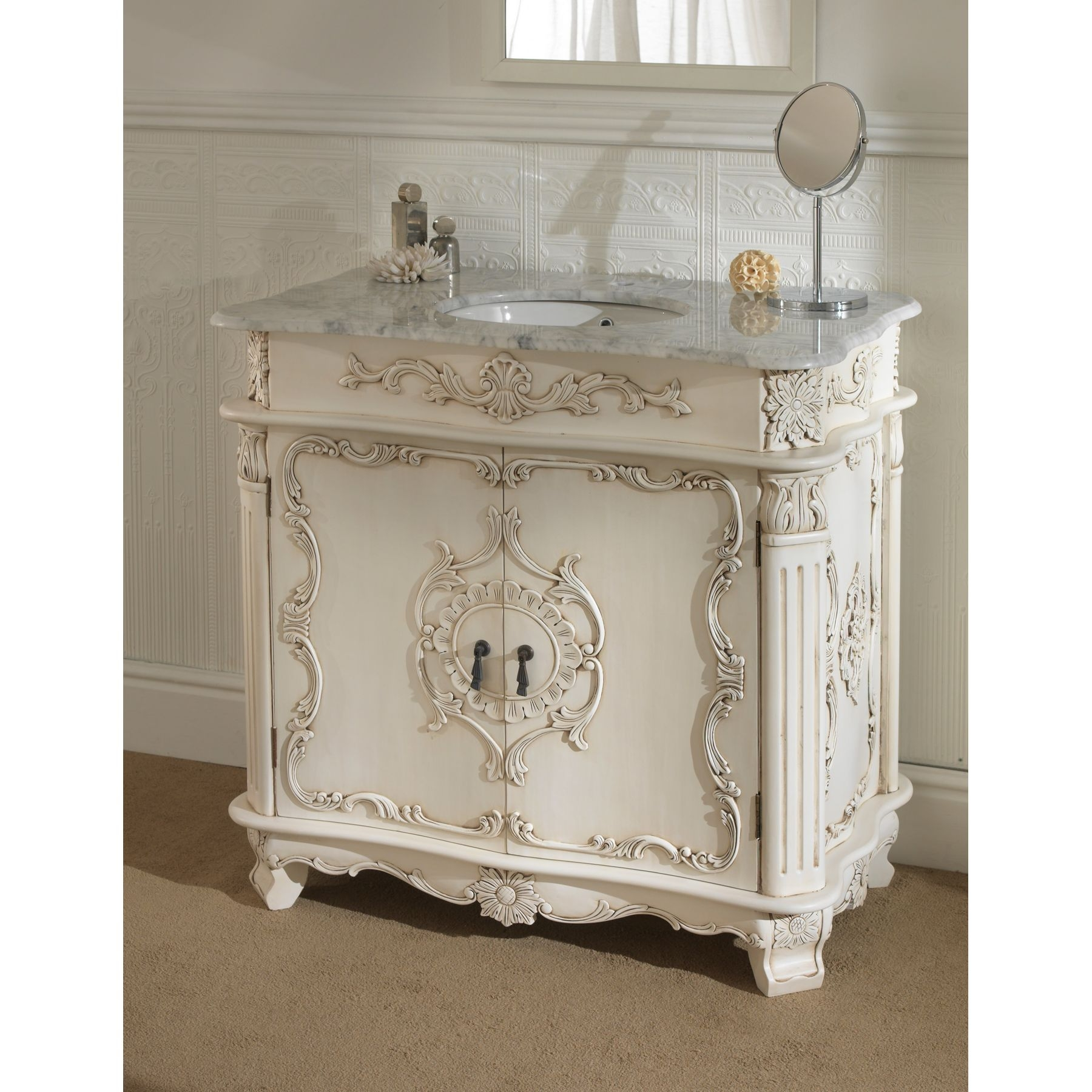 Furniture White Wooden Carved Bathroom Vanity With Sink With Grey In Vintage French Mirrors (View 10 of 15)