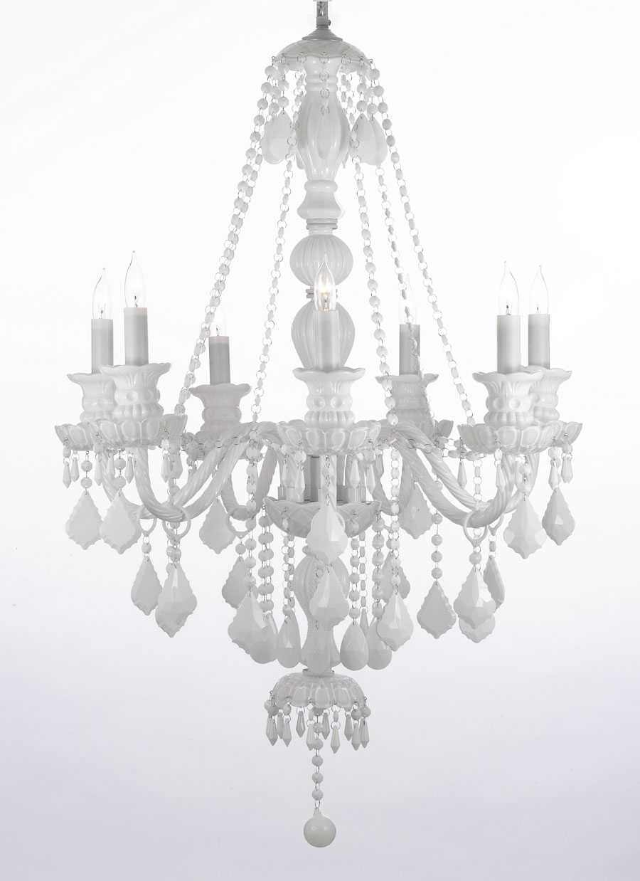 G46 Whitesm4907 Gallery Royal Collection Snow White Crystal Inside White Chandelier (Image 6 of 15)