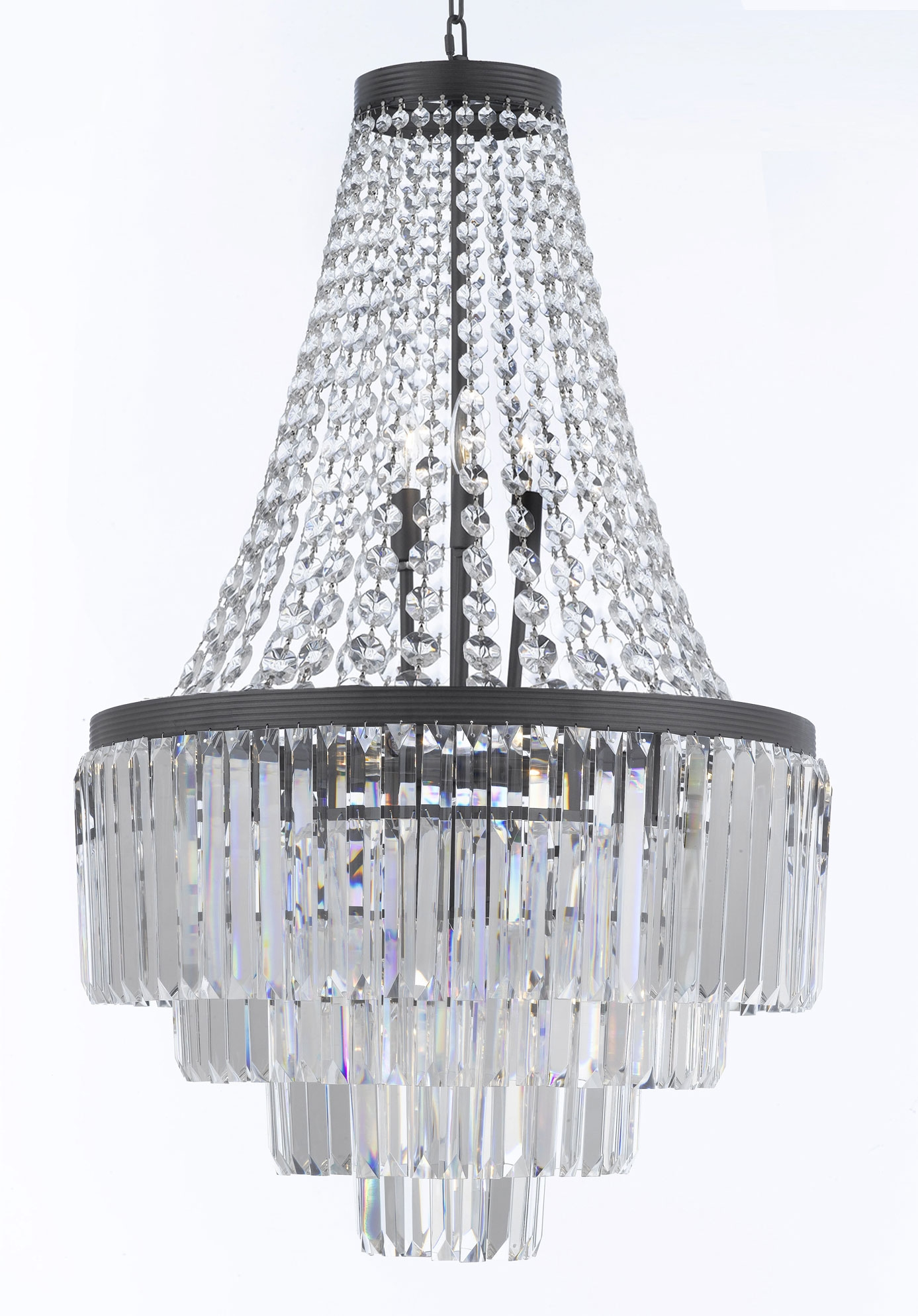 G7 11009 Gallery Chandeliers Retro Odeon Crystal Glass Fringe 3 Throughout 3 Tier Crystal Chandelier (Image 8 of 15)