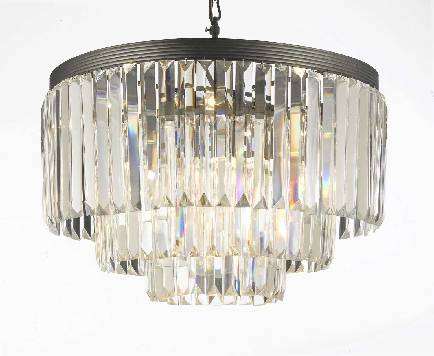 G7 11009 Gallery Chandeliers Retro Odeon Crystal Glass Fringe 3 With Regard To 3 Tier Crystal Chandelier (View 3 of 15)