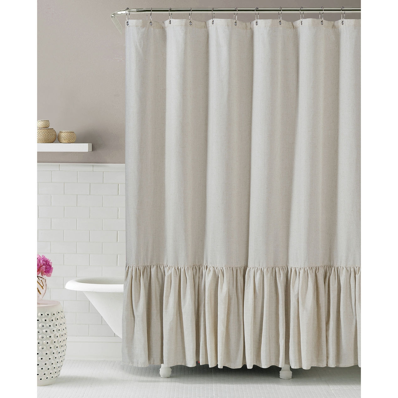 Gabriella Natural Linen Shower Curtain 25 At Home Decorating Within Extra Wide Linen Curtains (View 9 of 15)
