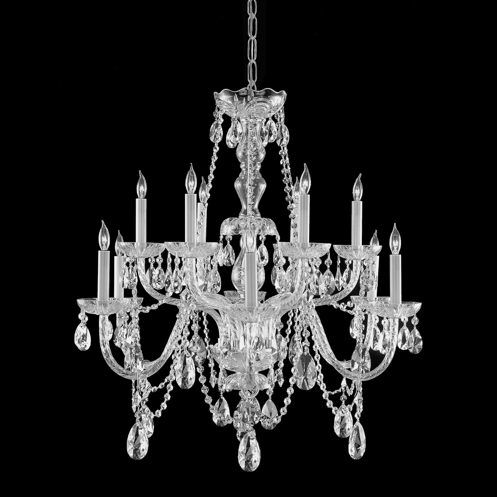 Gallery All Crystal 10 Light Silver Chandelier Overstock With Regard To Traditional Crystal Chandeliers (Image 6 of 15)