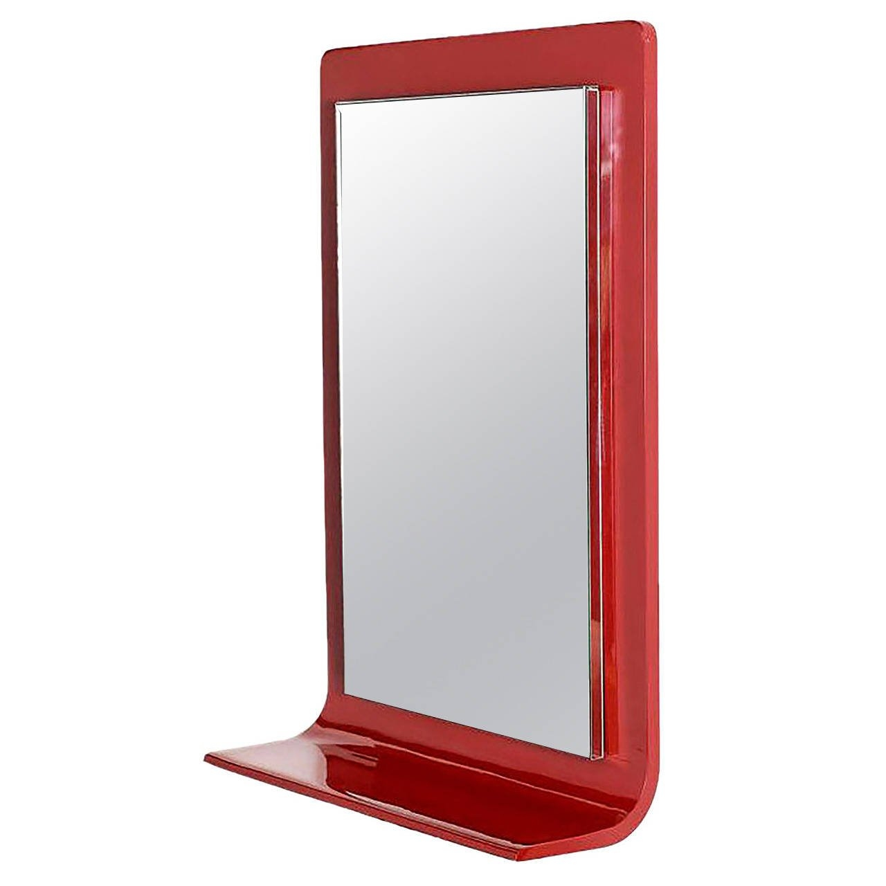 Gampel Stoll Red Lacquered Wall Mirror With Integral Console For Throughout Red Wall Mirrors (Image 6 of 15)