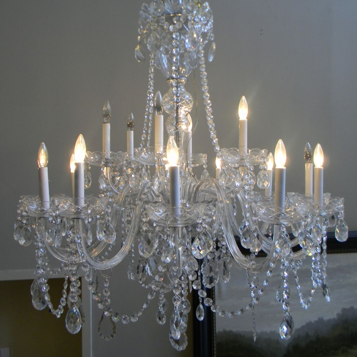 Gas Lamp Antiques Regarding Huge Crystal Chandelier (View 6 of 15)