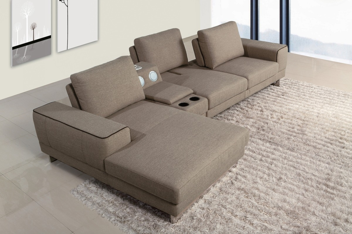 Gats Modern Fabric Sectional Sofa W Beverage Console And Intended For Elegant Fabric Sofas (Image 12 of 15)