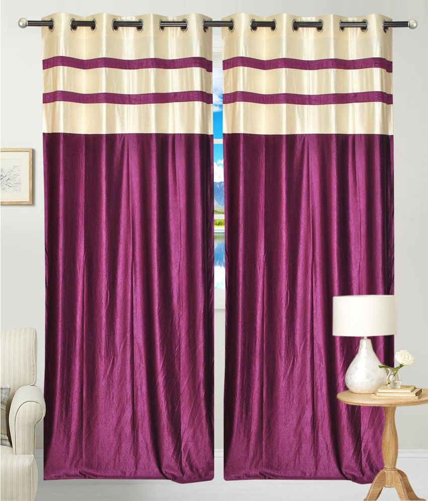 Geneva Single Long Door Eyelet Curtains Plain Purple Buy Geneva With Long Eyelet Curtains (Image 5 of 15)