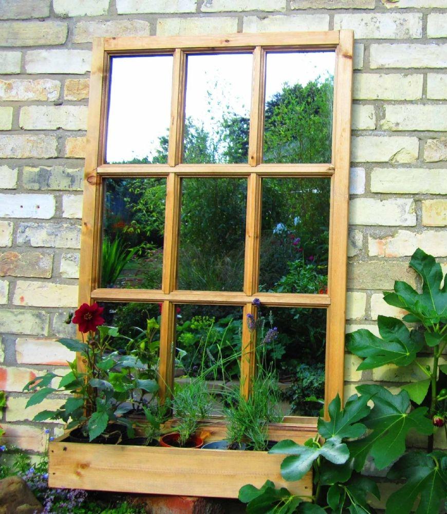 Georgian Window Illusion Garden Mirror Inside Garden Window Mirror (Image 5 of 15)