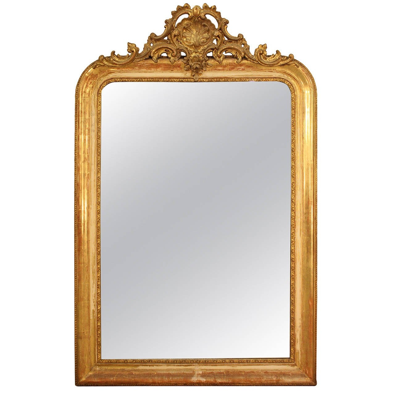 Gilded French Mirror With Cartouche At 1stdibs Inside French Mirror (Image 12 of 15)