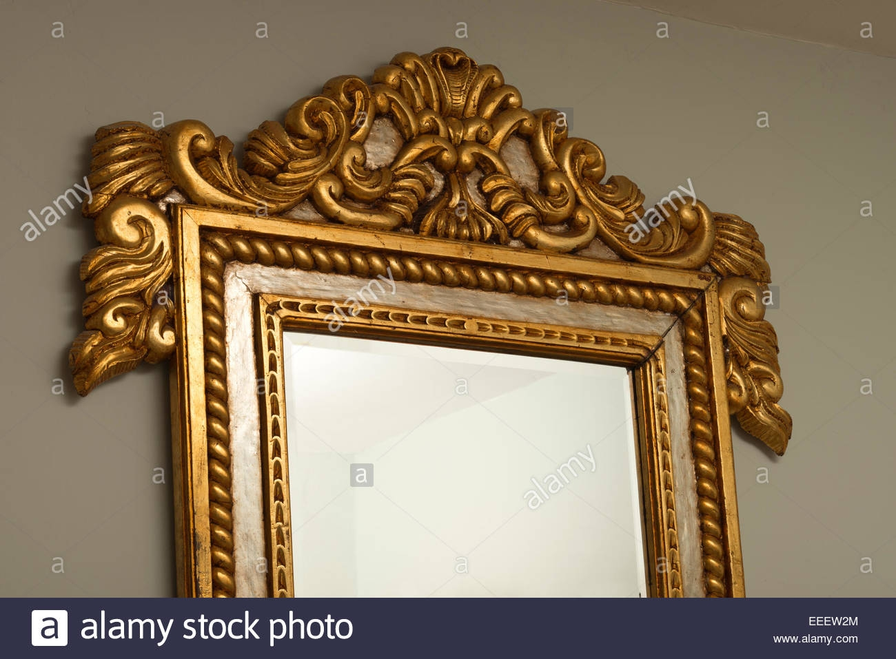 Gilded Mahogany Wall Mirror Frame From Honduras Silver And Gold In Silver Gilded Mirror (Image 9 of 15)