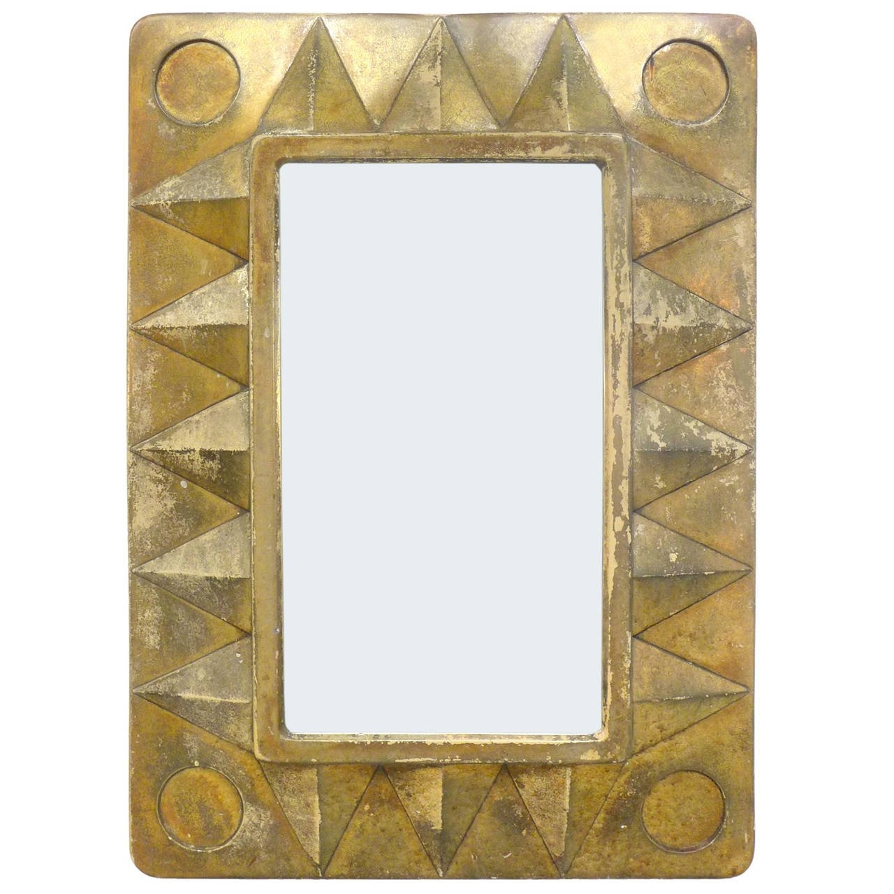 Gilt Geometric Framed Mirror At 1stdibs Inside Gilt Framed Mirror (Image 8 of 15)