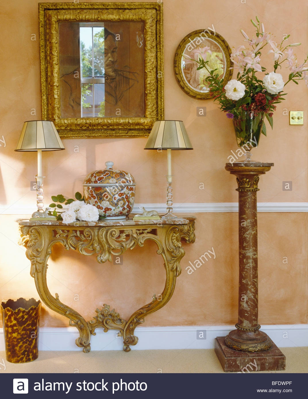 Gilt Mirror Above Ornate Baroque Console Table In Traditional Throughout Tall Ornate Mirror (Image 4 of 15)