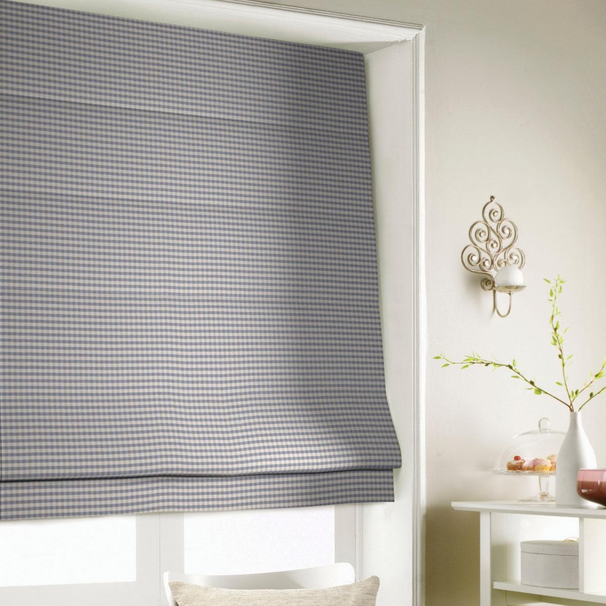 Gingham Roman Blind In Blue Free Uk Delivery Terrys Fabrics Within Gingham Roman Blinds (View 4 of 15)