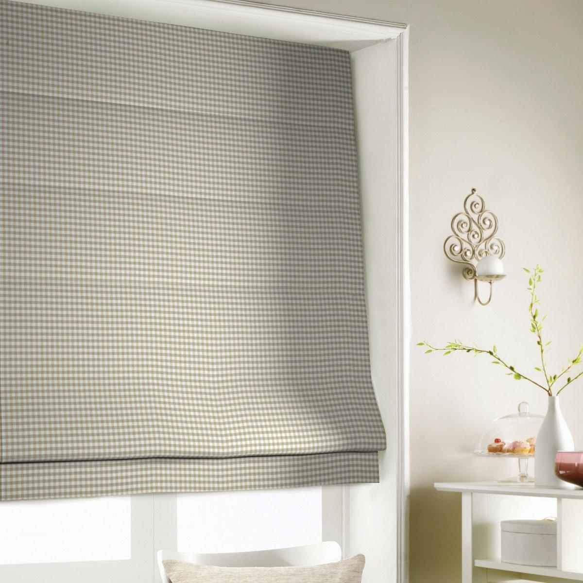 Gingham Roman Blind In Green Free Uk Delivery Terrys Fabrics Throughout Green Roman Blinds (Image 10 of 15)
