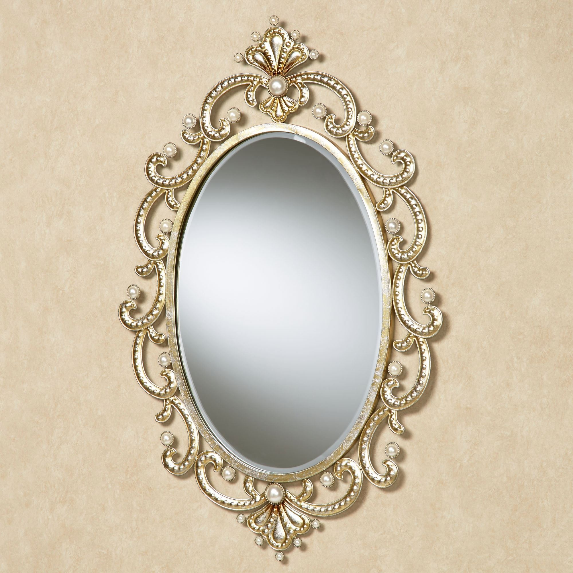 Giorgianna Pearl Oval Wall Mirror Regarding Champagne Wall Mirror (View 7 of 15)