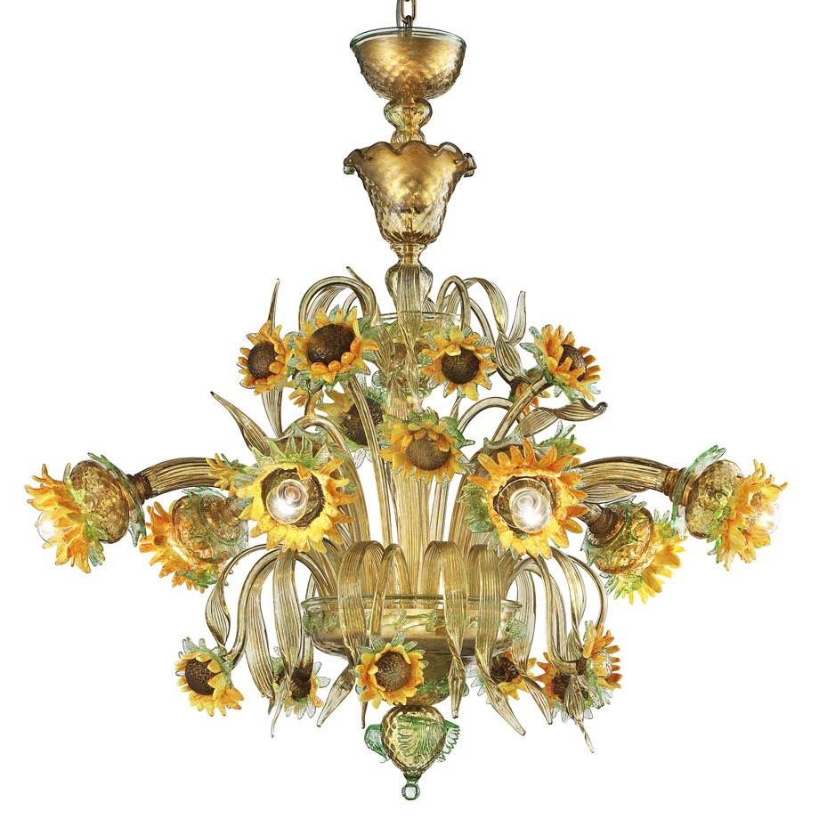 Girasole Sunflowers Murano Glass Chandelier Murano Glass With Murano Chandelier (Image 7 of 15)