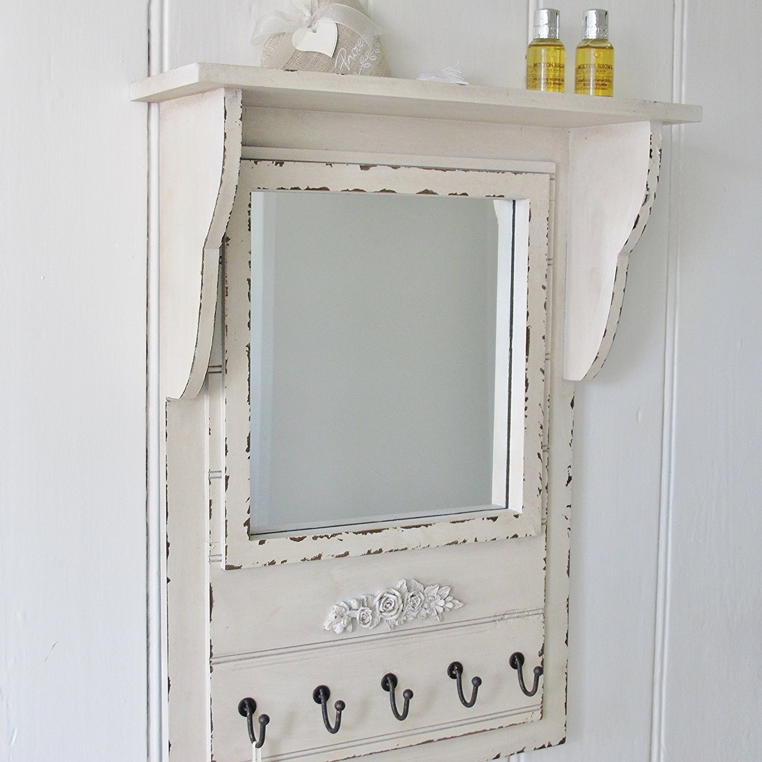 Gisela Graham Shab Chic Wall Mirror With Shelf And Hooks Amazon Regarding Shabby Chic Mirror With Shelf (Image 7 of 15)