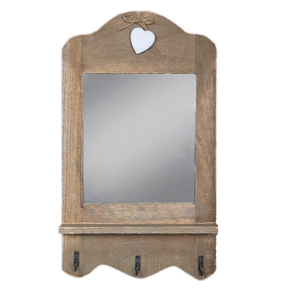 Gisela Graham Shab Chic Wall Mirror With Shelf And Hooks Amazon Within Shabby Chic Mirror With Shelf (Image 8 of 15)