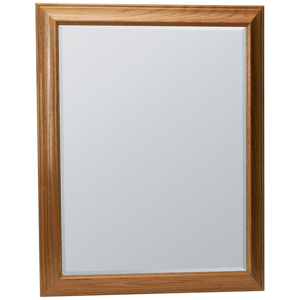 Glacier Bay Hampton 29 14 In X 35 In Framed Vanity Mirror In Throughout Oak Mirror (Image 5 of 15)