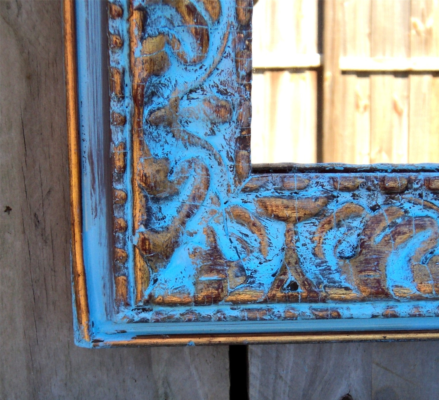 Glamorous French Blue Gesso Frame Mirror And Mantle With Regard To Mirror With Blue Frame (View 15 of 15)