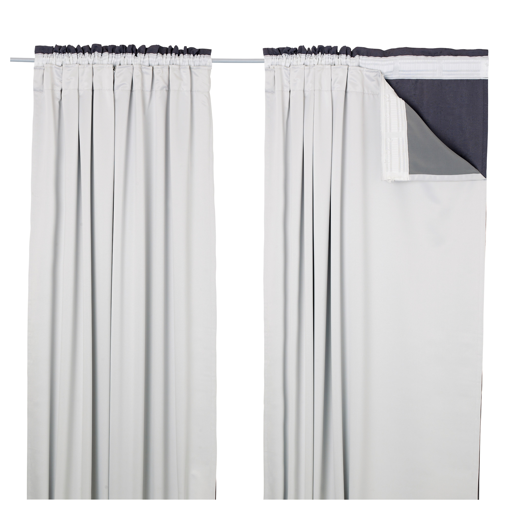 Glansnva Curtain Liners 1 Pair 56×94 Ikea Throughout White Curtains With Blackout Lining (Image 3 of 15)