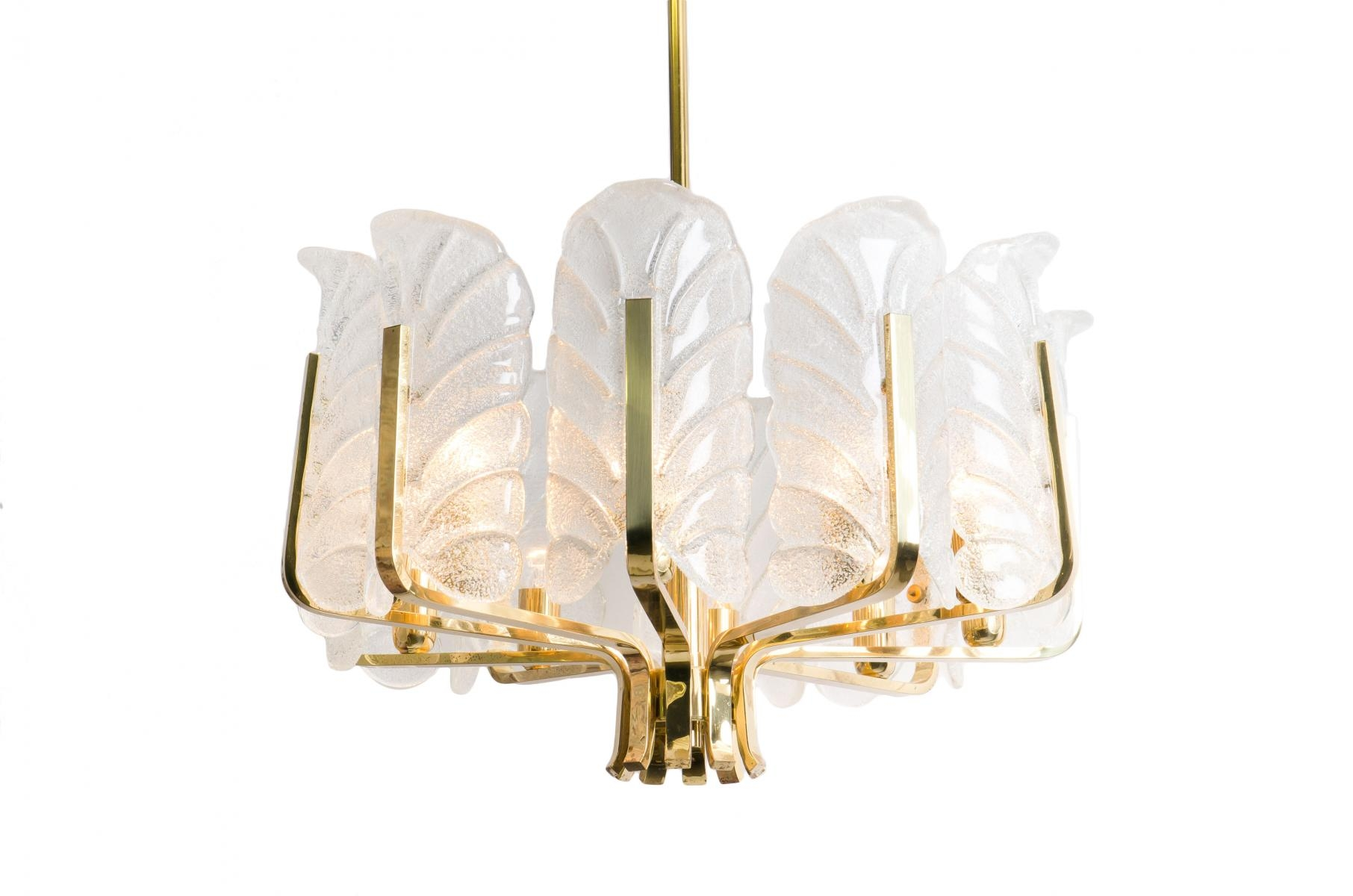 Glass Brass Chandeliers Carl Fagerlund For Orrefors 1960s Within Brass Chandeliers (Image 7 of 15)