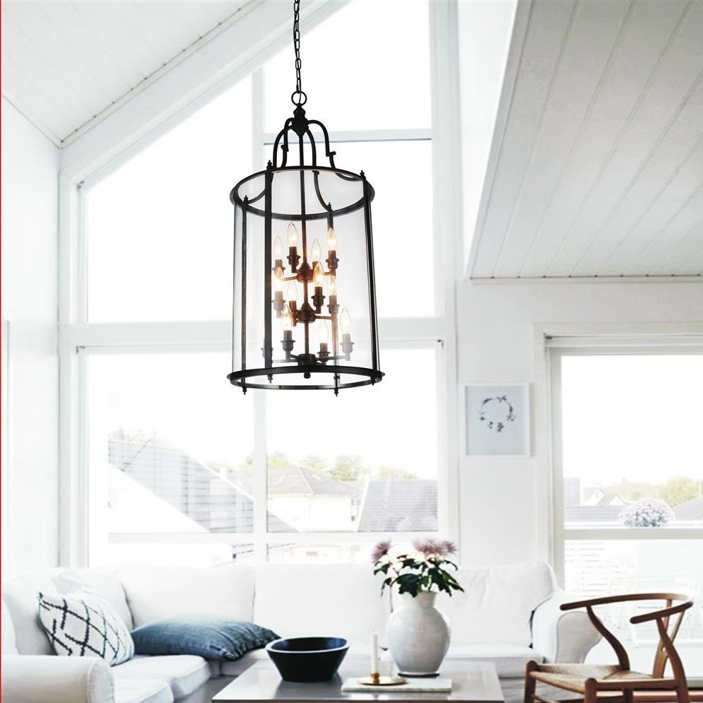 Glass Round Oversized Lantern Chandeliers With Black Metal Frame Intended For Oversized Chandeliers (View 11 of 15)