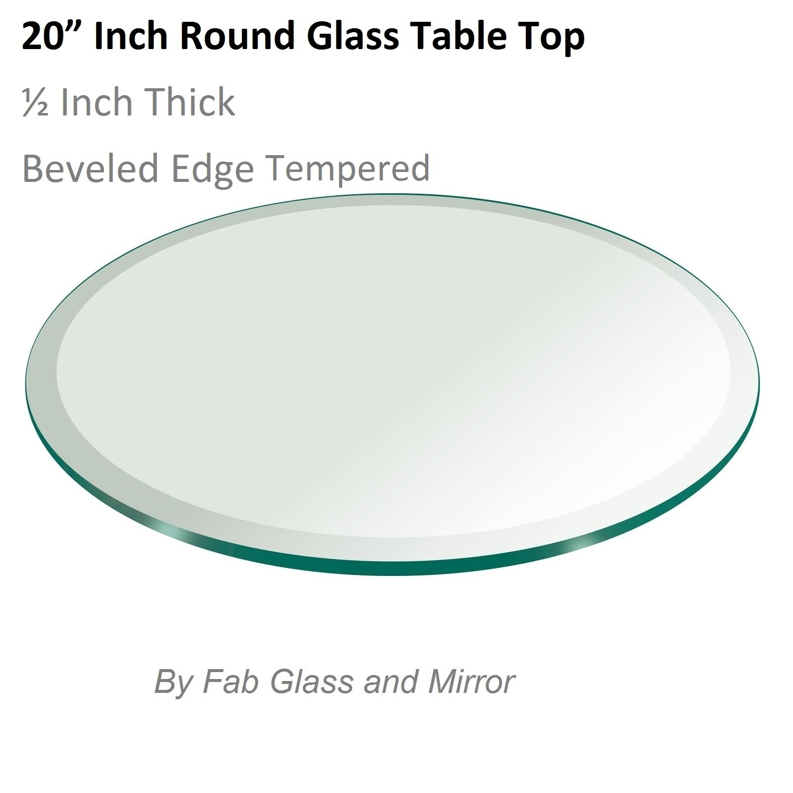 Glass Table Top 20 Inch Round Beveled Edge Tempered Glass Pertaining To Chamfered Edge Mirror (Image 9 of 15)
