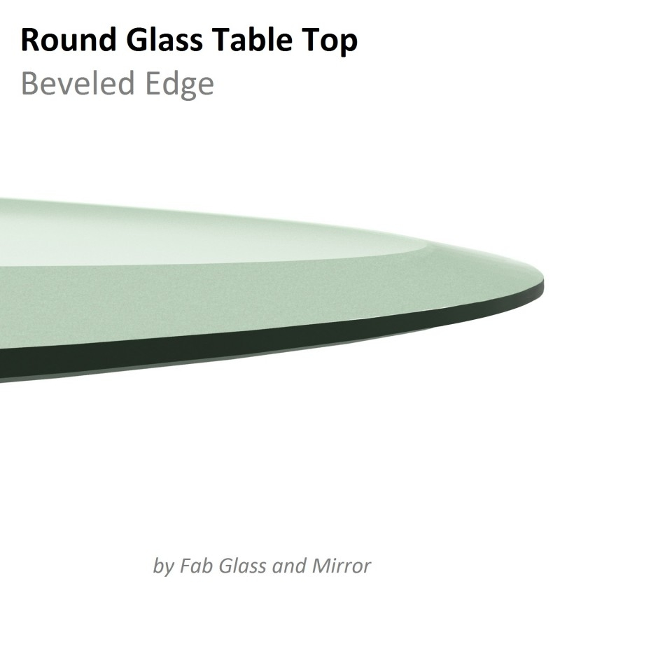 Glass Table Top 40 Inch Round Beveled Edge Tempered In Chamfered Edge Mirror (Image 11 of 15)