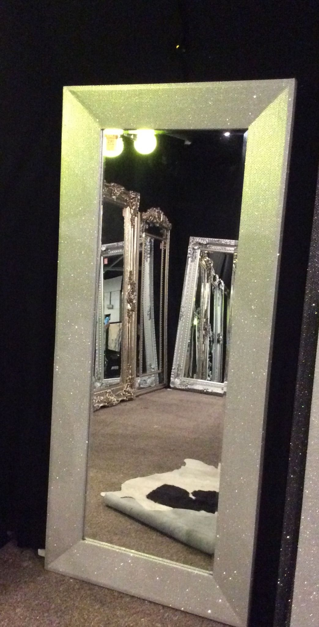 Glitter Mirror Silver Home Living Regarding Silver Glitter Mirror (Image 7 of 15)