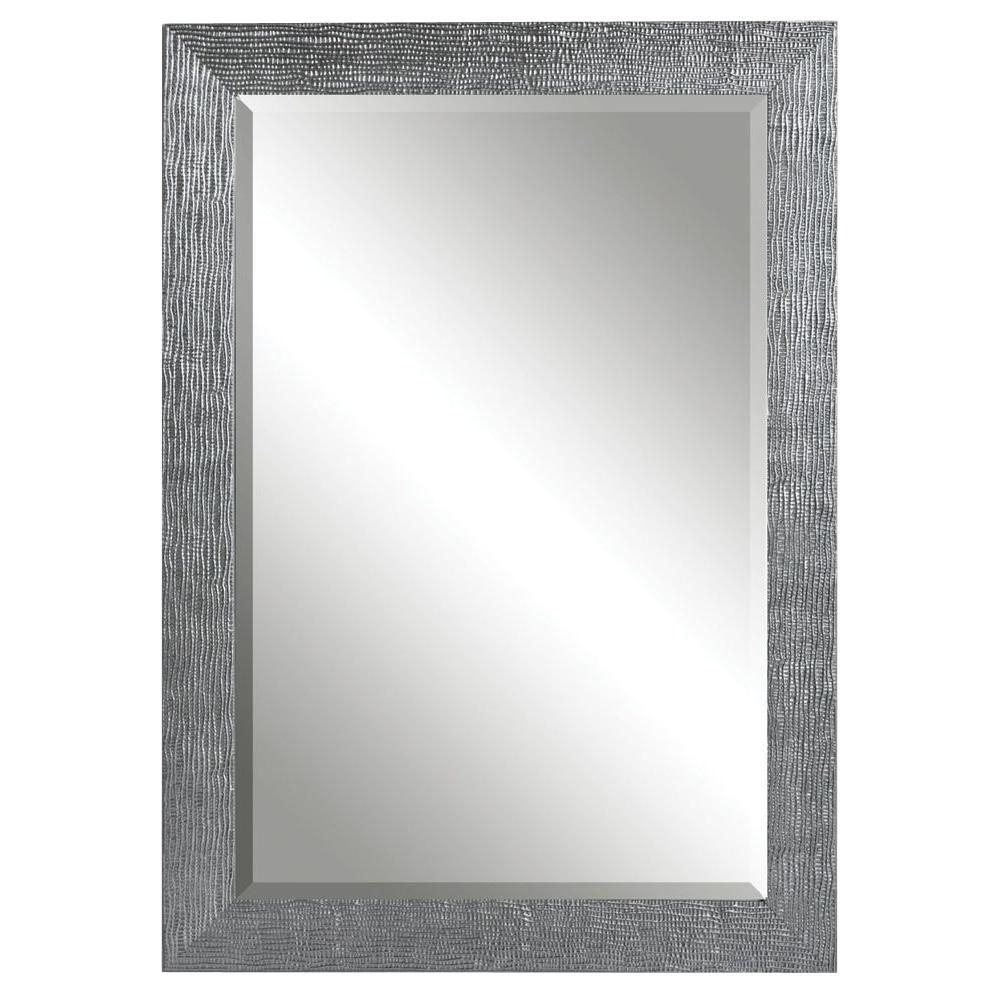Global Direct 42 In X 31 In Silver Finished Rectangle Framed Intended For Tall Silver Mirror (View 10 of 15)