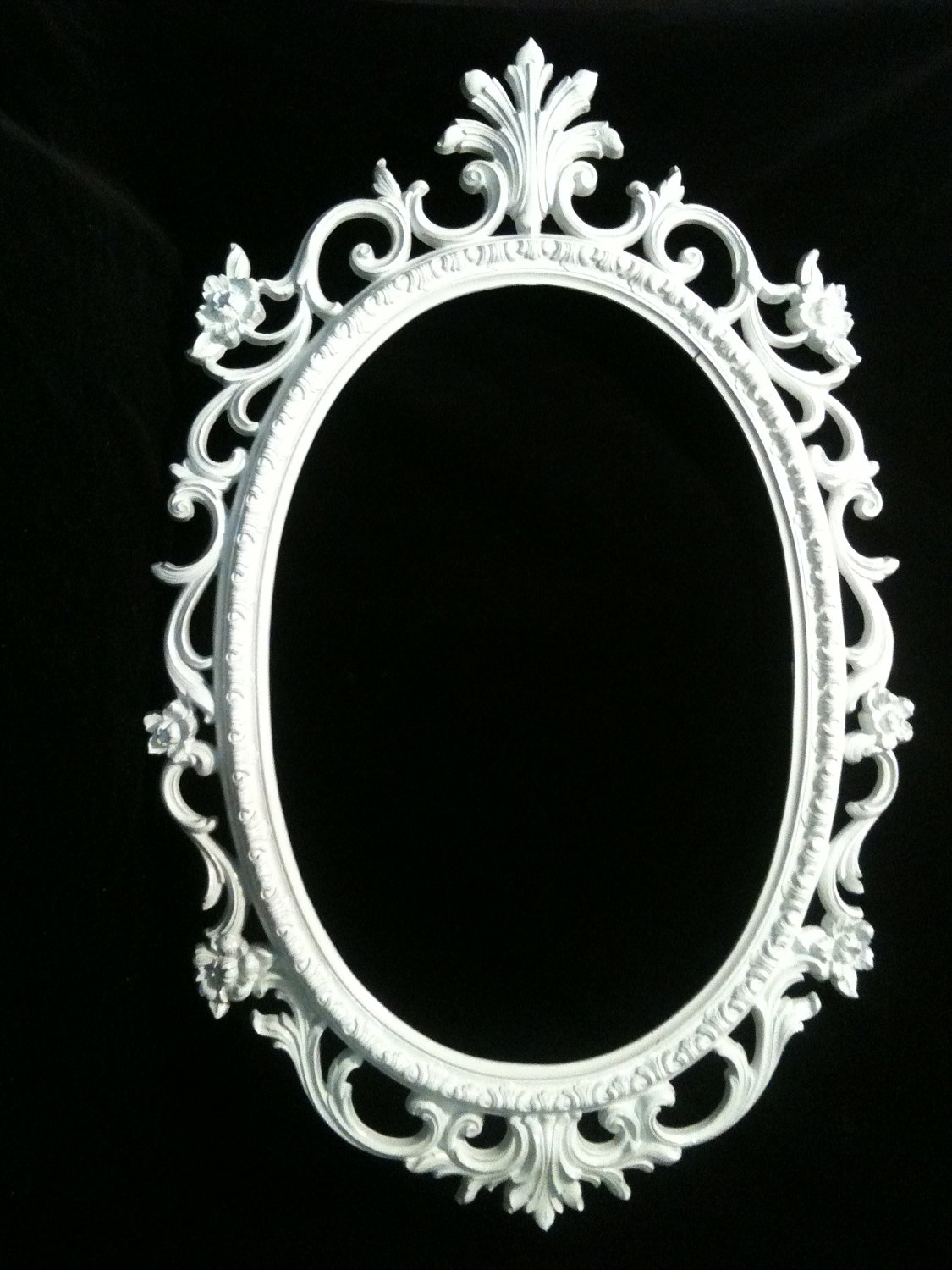 Gloss White Oval Picture Frame Mirror Shab Chic Baroque Gothic Throughout Baroque Mirror Frame (Image 10 of 15)