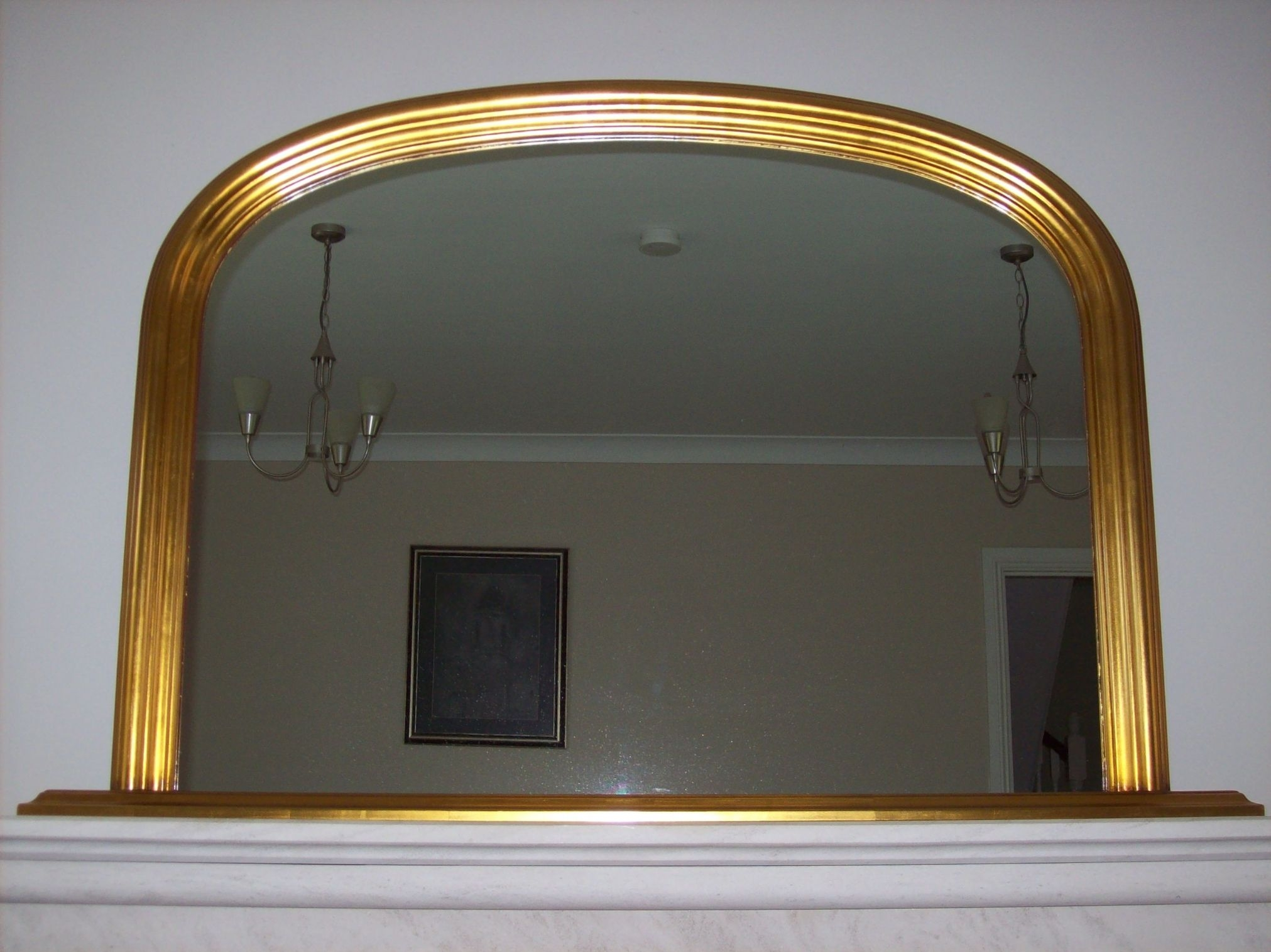 Gold Arched Overmantle Mirror With Regard To Overmantle Mirrors (Image 5 of 15)