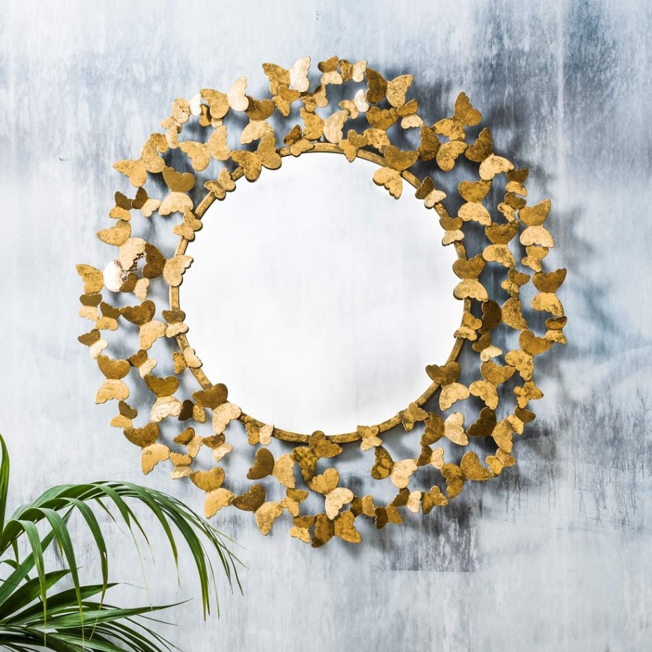 Gold Butterflies In Circle Green Wall Idea Belladonna With Butterfly Wall Mirror (Image 9 of 15)