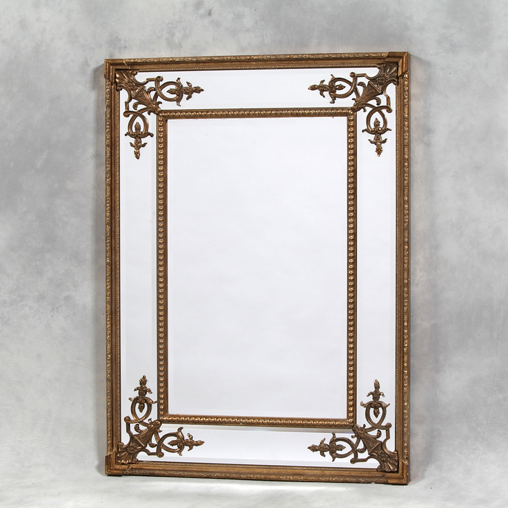 Gold French Style Cimiero Mirror 120 X 88cm Exclusive Mirrors Intended For Large French Style Mirror (Image 7 of 15)