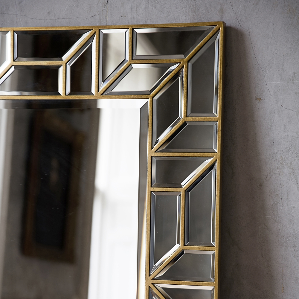 Gold Geometric Floor Standing Mirror Primrose Plum Regarding Standing Dressing Mirror (View 12 of 15)