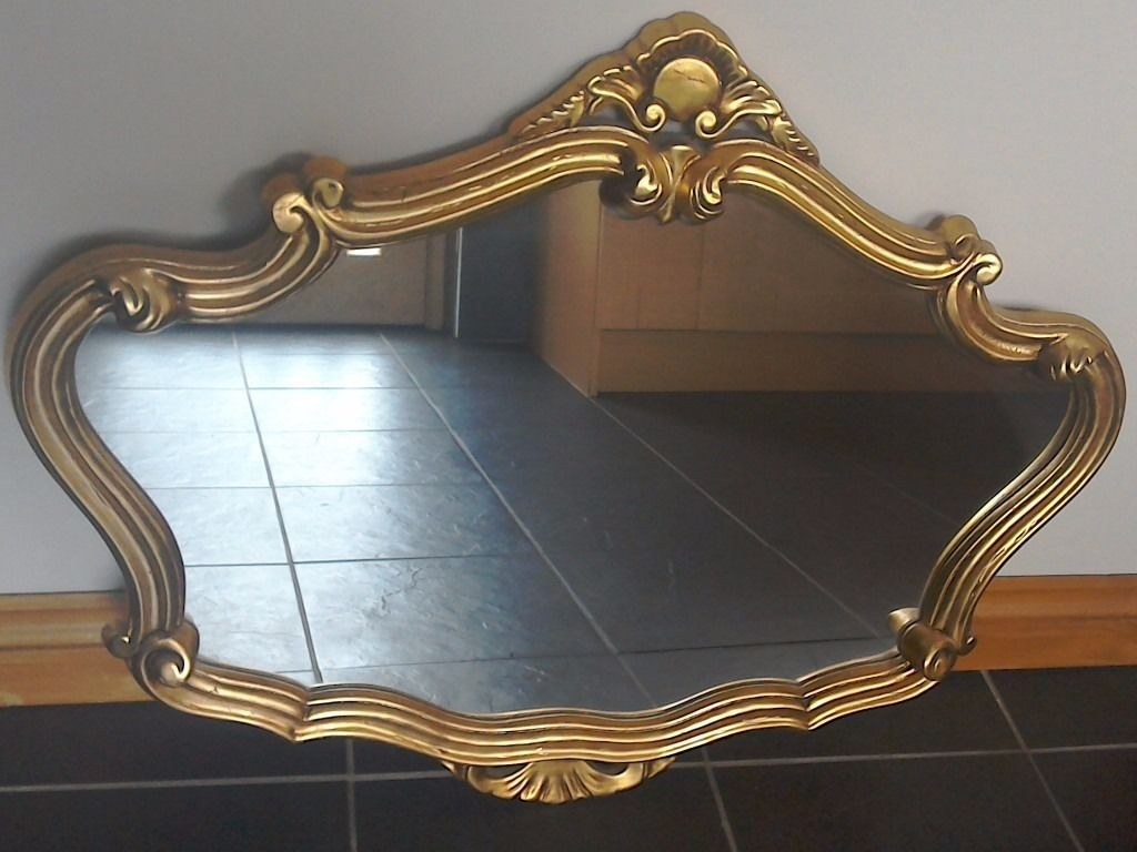 Gold Gilt Edged Mirror In Excellent Condition 90cm 70cm In With Gilt Edged Mirrors (Image 10 of 15)