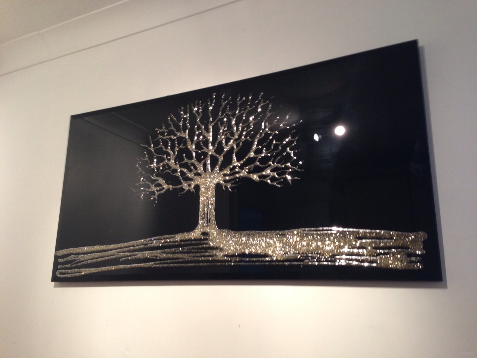 Gold Glitter Tree With Swarovski Crystals On A Black Bevelled Wall For Black And Gold Wall Mirror (Image 7 of 15)