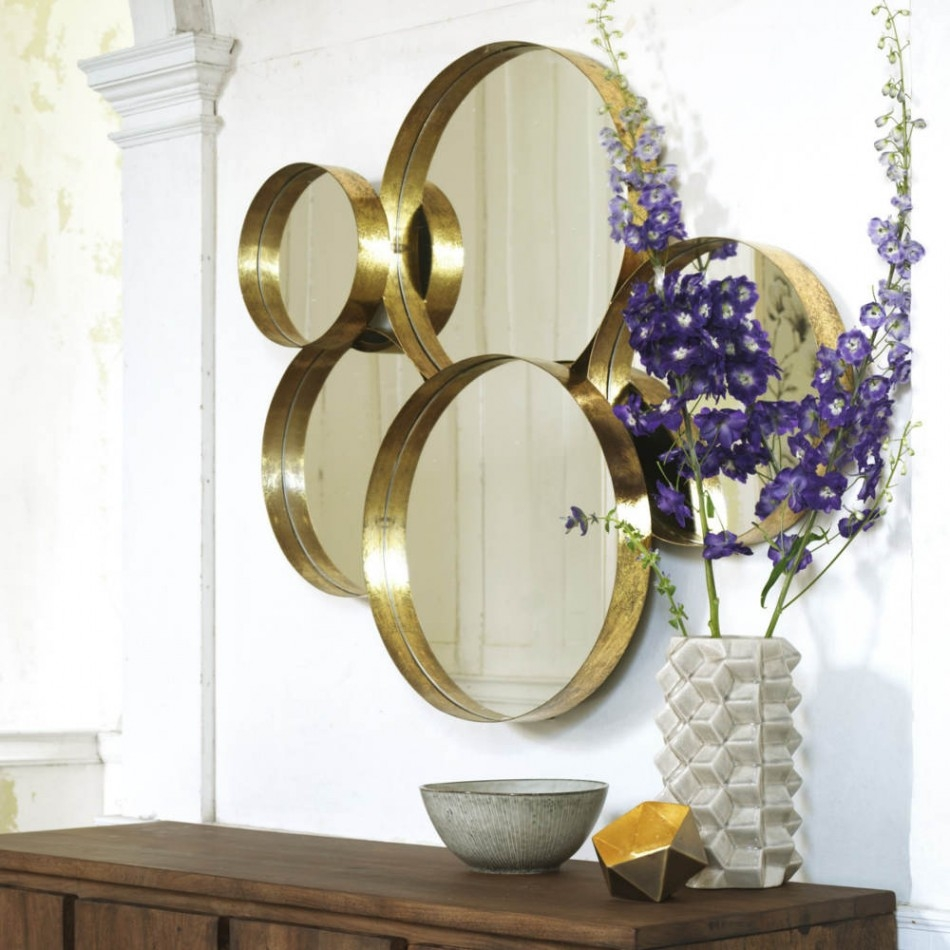 Gold Lamour Round Mirror View All Mirrors Mirrors Lighting Throughout Round Mirrors For Sale (Image 4 of 15)