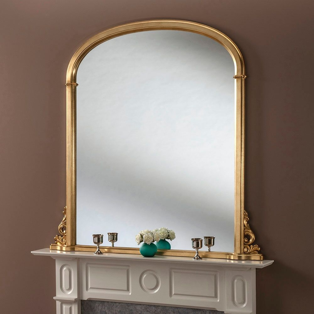 Gold Leaf Overmatle Mirror 81 X 122cm Exclusive Mirrors Pertaining To Overmantel Mirrors (Image 6 of 15)